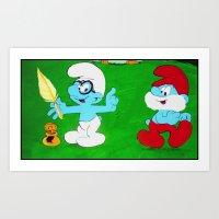 Brainy & Papa Smurf Art Print