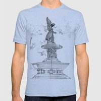 Belvedere Fountain, Central Park, NY Mens Fitted Tee Athletic Blue SMALL