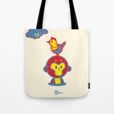 The Monkey and The Rooster  Tote Bag