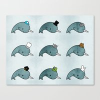 The Many Hats Of Narwhal… Canvas Print