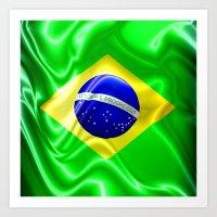 Brazil Flag Waving Silk Fabric Art Print