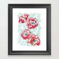 Poppies & Vines Framed Art Print