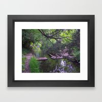 A Shady Path By The Stre… Framed Art Print