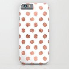 Stylish rose gold polka dots brushstrokes pattern Slim Case iPhone 6s