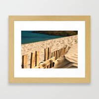 Fence beach Framed Art Print