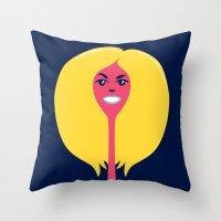 Throw Pillow featuring Good Hair Days: Puff by Mouki K. Butt