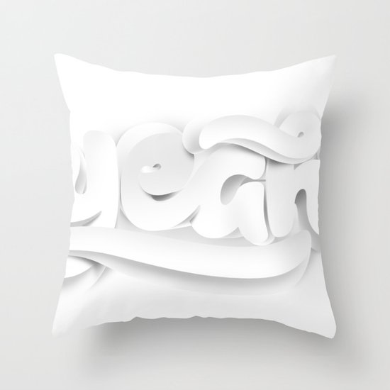 Yeah! — White lettering Throw Pillow
