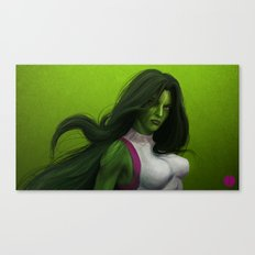 GREEN HAIR, GREEN EYES, HYPNOTIZE Canvas Print