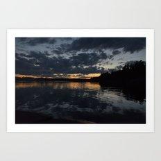 A cloudy sunset. Art Print