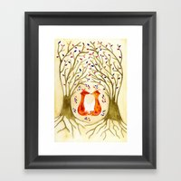 Two Foxes Meet In The Tr… Framed Art Print