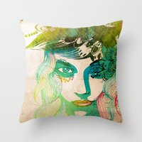 Floral Girl Illustration Throw Pillow