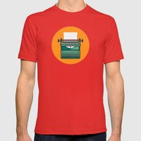 Typewriter Icon Mens Fitted Tee Red SMALL