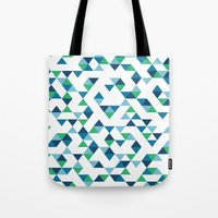 Triangles Blue and Green Tote Bag