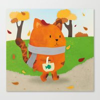A Lovely Walk To The Shops In Autumn Canvas Print