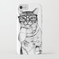 hipster iPhone & iPod Cases featuring Mac Cat by florever