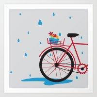 Bicycle & Rain Art Print