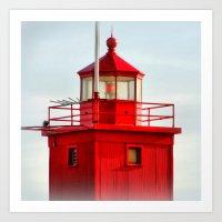 Big Red Lighthouse Art Print