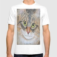 Tabby Cat Mens Fitted Tee White SMALL