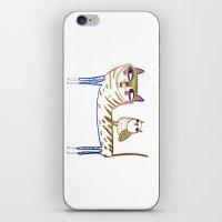cat and owl, cat art, cat print, cat illustration, cats, cat, owl print,  iPhone & iPod Skin