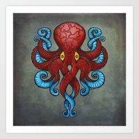 Red Dectopus Art Print