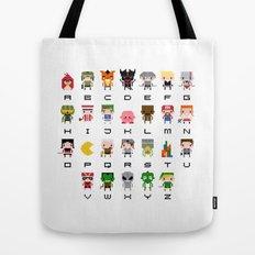 Video Games Pixel Alphabet Tote Bag