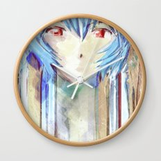 Rei Ayanami from Evangelion Digital Mixed Media Wall Clock
