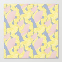 Spotted Fan & Trailing Hair // Pink & Yellow Pastels Canvas Print