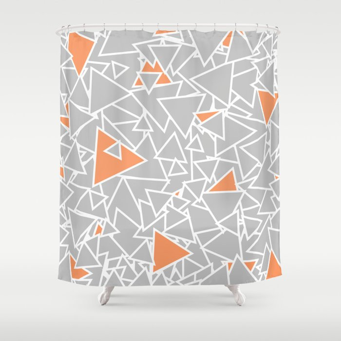 A Bazillion Triangles Orange Gray Shower Curtain By Beth Thompson Society6