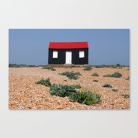 Beach Hut With A Red Roo… Canvas Print