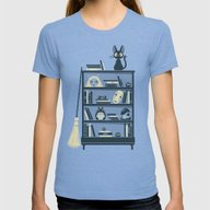 Ghibli Shelf // Miyazaki Womens Fitted Tee Tri-Blue SMALL