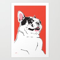 Boston Terrier Side-Eye Art Print