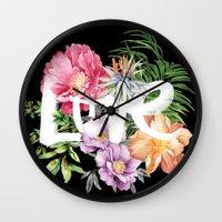 Love Is Black Wall Clock