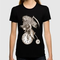 Father Time On A Penny F… Womens Fitted Tee Black SMALL