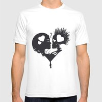 Skull Kiss Mens Fitted Tee White SMALL