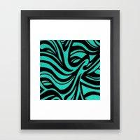 Blue & Black Waves Framed Art Print