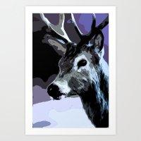 Midnight Stag Art Print
