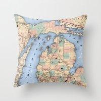 Michigan Railroad Map Throw Pillow