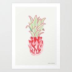 Neon Pineapple Art Print
