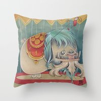 DANCING SCAREDY MONSTER Throw Pillow