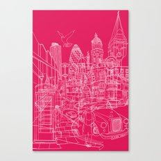 London! Hot Pink Canvas Print
