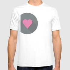 Flat heart White Mens Fitted Tee SMALL
