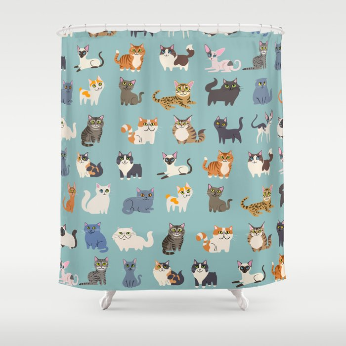 Cats Shower Curtain By DoggieDrawings