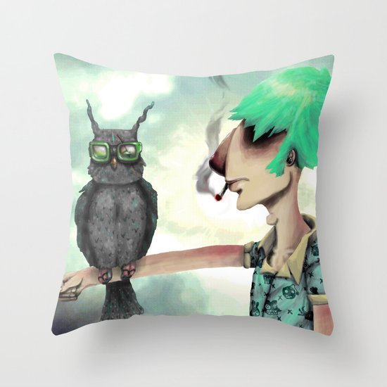 Punk N' A Bird Throw Pillow