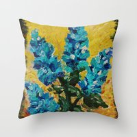 SHADES OF BLOOM - Stunning Floral Abstract Modern Home Decor Hyacinths Bright Bold Color Garden 2012 Throw Pillow