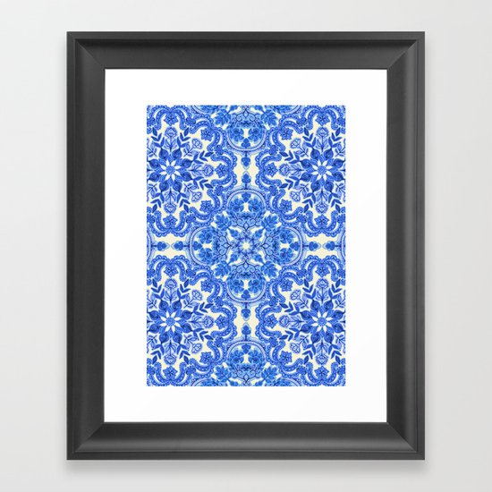Cobalt Blue Amp China White Folk Art Pattern Framed Art