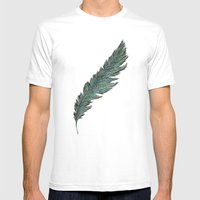 CRAYON LOVE: Aqua Feathe… Mens Fitted Tee White SMALL