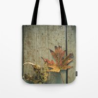 Fallen Ones, Two Autumn Leaves on Rustic Blue Porch Boards Tote Bag