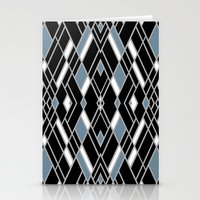 Art Deco Zoom Blue Stationery Cards
