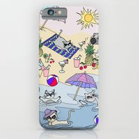 iPhone Cases featuring summer cats by galactikat