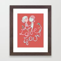 intertwined love Framed Art Print